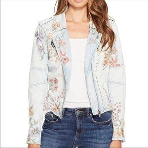 BlankNYC Embroidered Denim Moto Jacket (L)